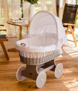 Baby Bassinet SNUGLY - Wood Colour Luna Grey - With Bed Set