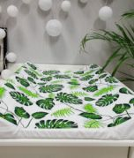 Changing mat - green leaves / white