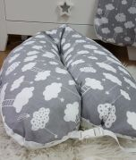 Nursing Pillow - Grey with white clouds