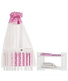 Bettset für ovales Kinderbett -  Babybett - SmartGrow 7in1 - Rosa mit Weissen Punkten