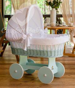 Baby Stubenwagen SNUGLY - Holzfarbe Mint - Inklusive Bettset Weiss