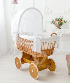 Baby Stubenwagen SNUGLY - Holzfarbe Natur - Inklusive Bettset Weiss