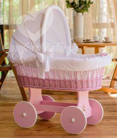 Baby Stubenwagen SNUGLY - Holzfarbe Pink- Inklusive Bettset Weiss