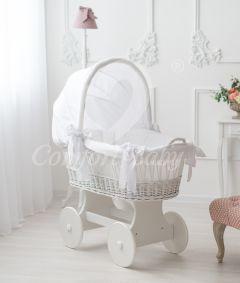 Baby Stubenwagen SNUGLY - Holzfarbe Weiss - Inklusive Bettset Weiss