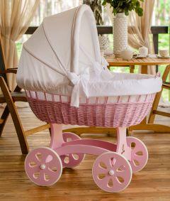 Baby Stubenwagen XXL HOME - Holzfarbe Pink - Inklusive Bettset Weiss