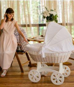 Baby Stubenwagen XXL HOME - Holzfarbe Weiss - Inklusive Bettset