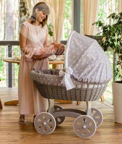 Baby Stubenwagen XXL HOME - Holzfarbe Luna Grey - Inklusive Bettset Grau mit weissen Sternen