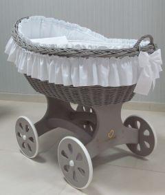 Baby Stubenwagen XL - Inklusive Bettset - Mit Rüsche - Holzfarbe Grau
