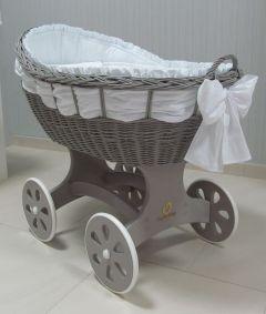 Baby Stubenwagen XL - Inklusive Bettset - Mit Schärpe - grau