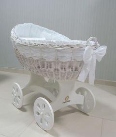 Baby Stubenwagen XL - Inklusive Bettset - Mit Schärpe-weiss