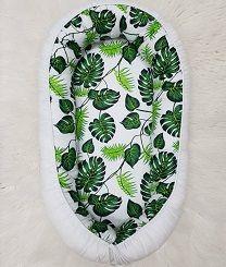 Multifunktionales Babynest - Blätter grün/weiss